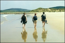 Barefeet walking on Fanad beach, Donegal, Ireland